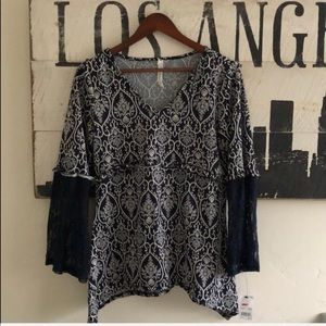 NY Collection Printed Lace 3/4 Sleeve Top Small